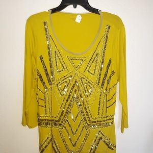 Coldwater Creek bling 3/4 sleeve top